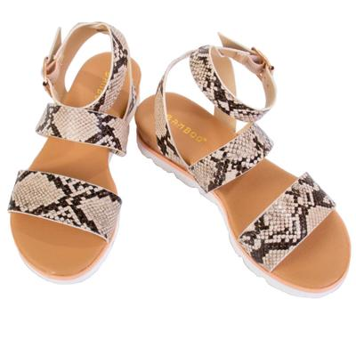 Women's Strappy Ankle Snake Print Sandals