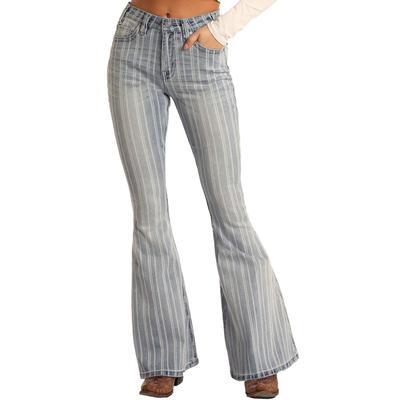 Rock&Roll Women's Striped Flare Jeans