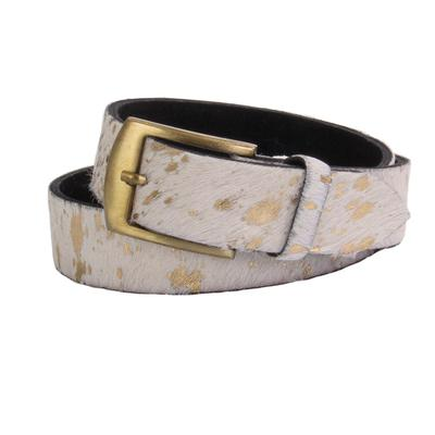 Women's White and Gold Hair on Belt