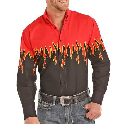 Panhandle Flaming Hot Border Button Down Shirt