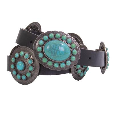 Women's Oval Turquoise with Conchos Belt