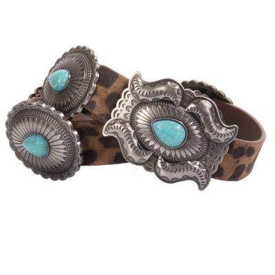Women's Leopard and Turquoise Belt
