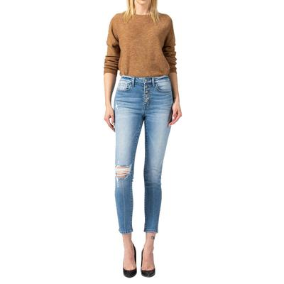 Women's High Rise Button Up Crop Skinny Jeans