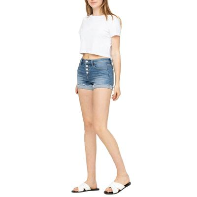 Women's Mid Rise Button Up Cuffed Shorts