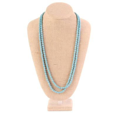 60 Inch Small Frosted Turquoise Crystal Necklace