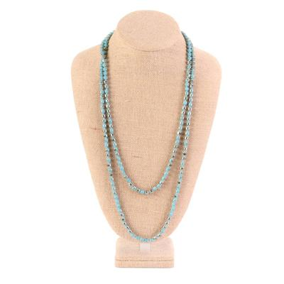 60 Inch Small Turquoise & Brown Frosted Bead Necklace