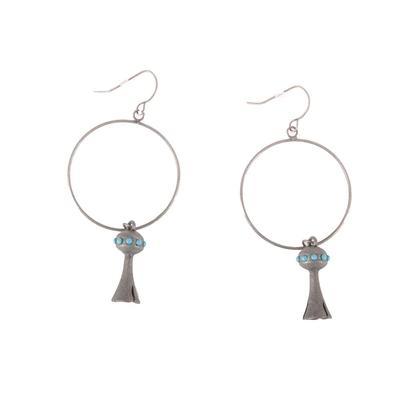 Silver Hoop Pomegranate Pendant Earrings