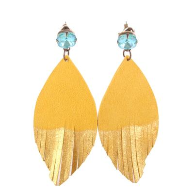 Pink Panache Gold Brushed Leather Feather Earrings