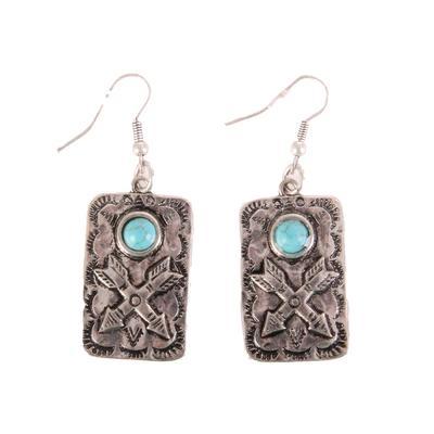 Western Crossed Arrows Silver&Stone Earrings