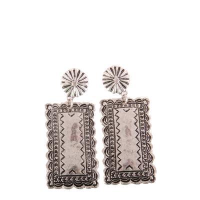 Western Stamped Rectangle Earrings