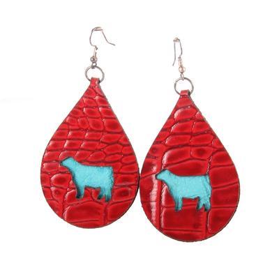 Leather Steer Cutout Earrings