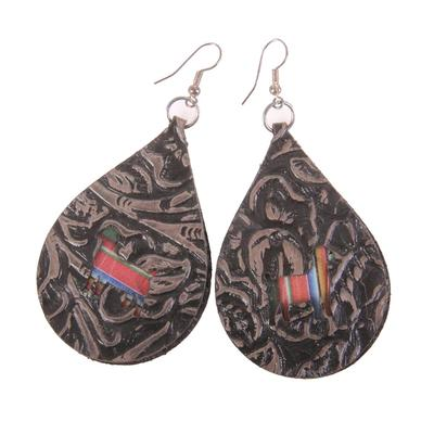 Leather Goat Cutout Earrings