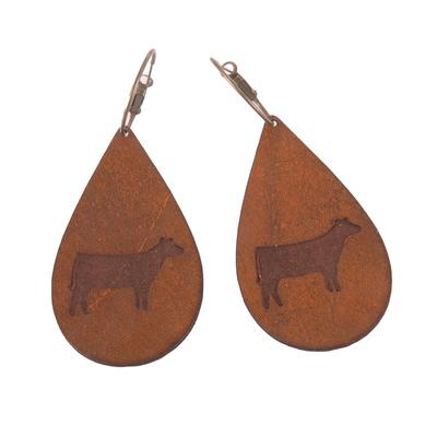 Leather Stamped Farm Earrings