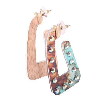 Pink Panache U Shaped Wood Dangle Earrings