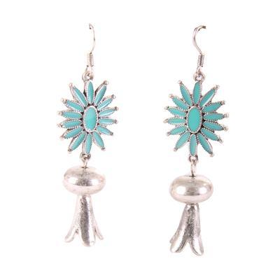 Turquoise Star Pomegranate Dangle Earrings