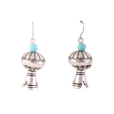 Silver Pomegranate With Stone Earrings