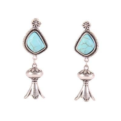 Turquoise Stone Pomegranate Earrings