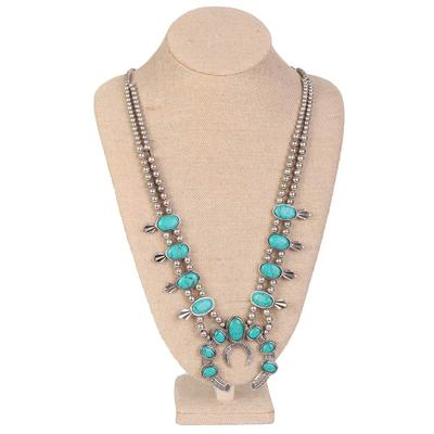 Double Beaded Strand Turquoise Concho Necklace