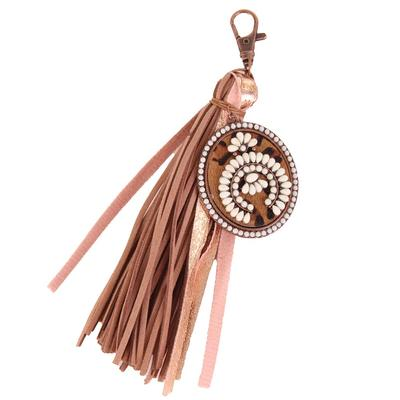 Bronze Leather Squash Blossom Keychain