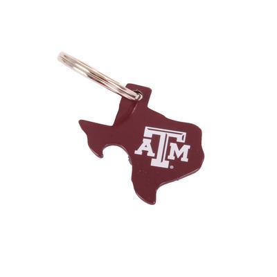 A & M Texas Shaped Bottle Opener Keychain