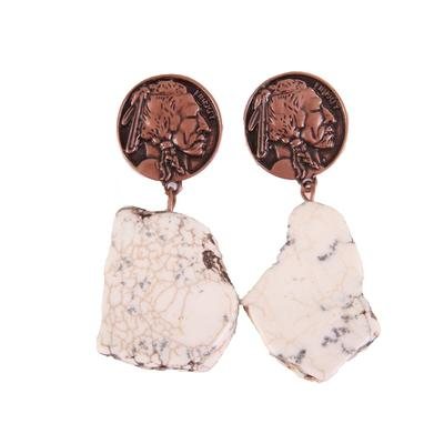 Indian Chief Coin Chunky Earrings