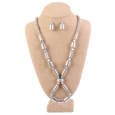 Silver Tone Turquoise Cylindrical Necklace Set