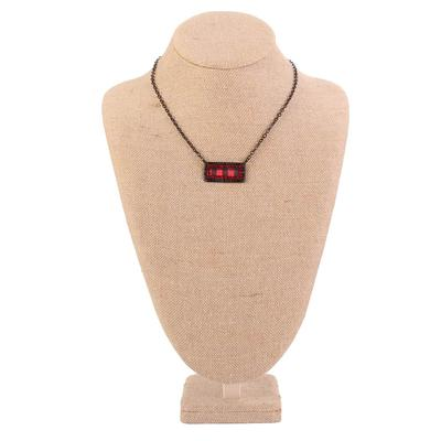 Pink Panache Plaid Rectangle Crystal Necklace