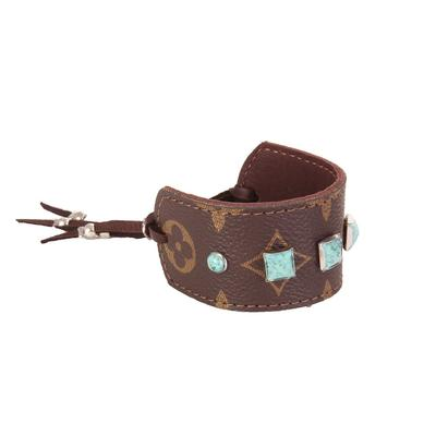 Upcycled LV and Turquoise Leather Cuff
