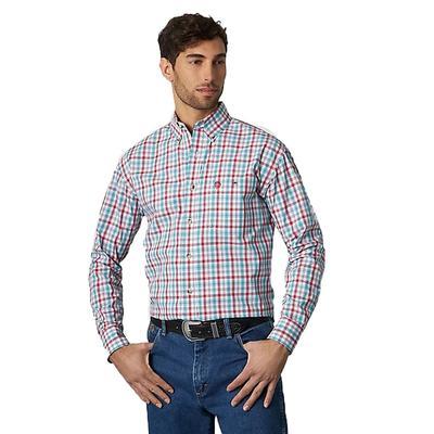 Wrangler Men's Plaid Turquoise Button Down Shirt