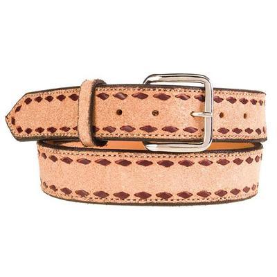 Texas Saddlery Company MEns Roughout Buck Stitch Belt