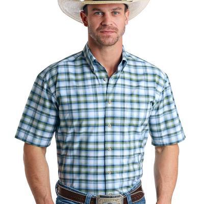 Panhandle Men's Checkered Blue Button Down Shirt