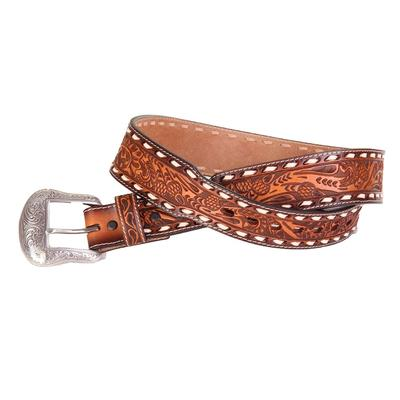 Men's Leather Floral Tooled Buck Stitched Belt