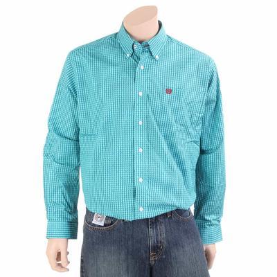 Cinch Men's Teal Dollar Sign Cotton Button Down Shirt