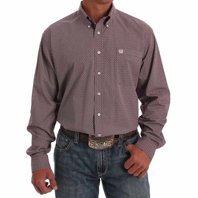 Cinch Men's Red & Black Geometric Print Western Shirt