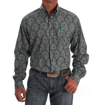Cinch Men's Gray & Turquoise Medallion Paisley Print Shirt