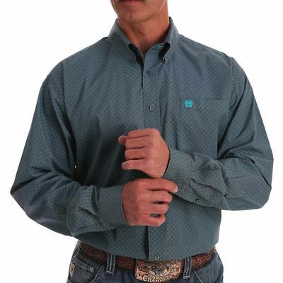 Cinch Men's Dotted Gray & Turquoise Micro Geometric Print Western Shirt