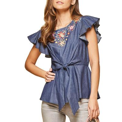 Women's Tencel Embroidered Top