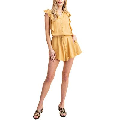 Kori Women's Ruffle Button Down Romper