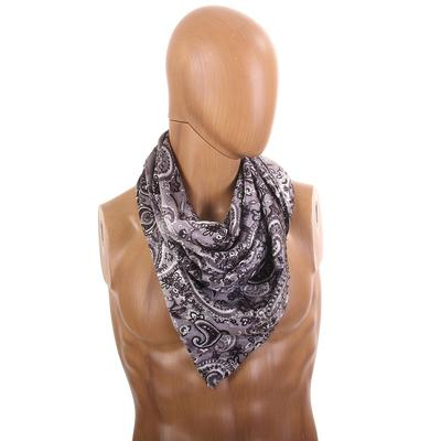 Grey Paisley Silk Wild Rag