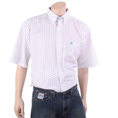 Wrangler Men's George Strait Blue & Orange Button Star Pattern Shirt