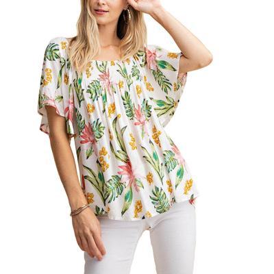 Kori Women's Smock Neck Floral Top