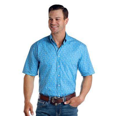 Panhandle Men's Blue Pattern Button Down Shirt