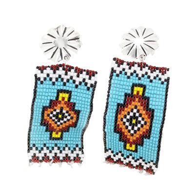 Concho & Mojave Sun Bead Banner Earrings