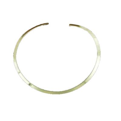 Goldtone Flat Wide Rounded Collar Necklace