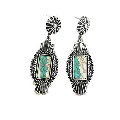 Western Framed White Turquoise Striped Stone Earrings
