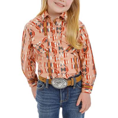 Wrangler Girl's Blush Western Snap Shirt