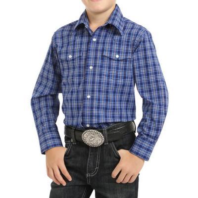 Wrangler Boy's Blue Western Snap Shirt