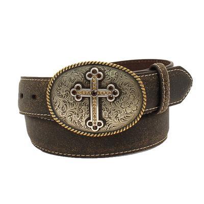 Ladies Cross Belt Buckle Leather Belt