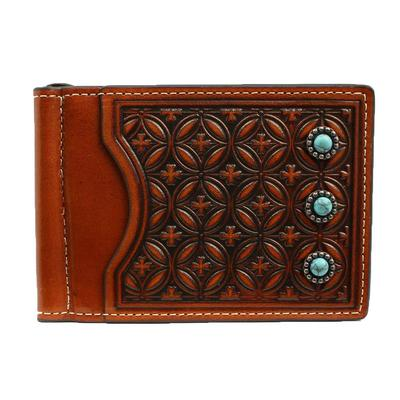 Men's Bifold Tooled & Turquoise Money Clip