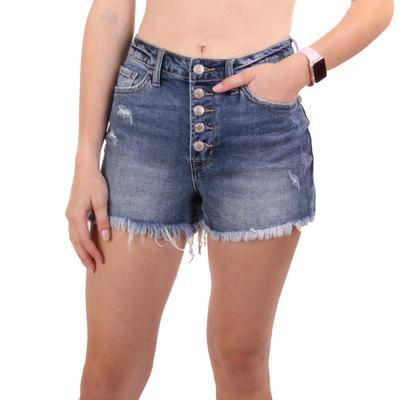 Vervet Women's Distressed Button Up Shorts